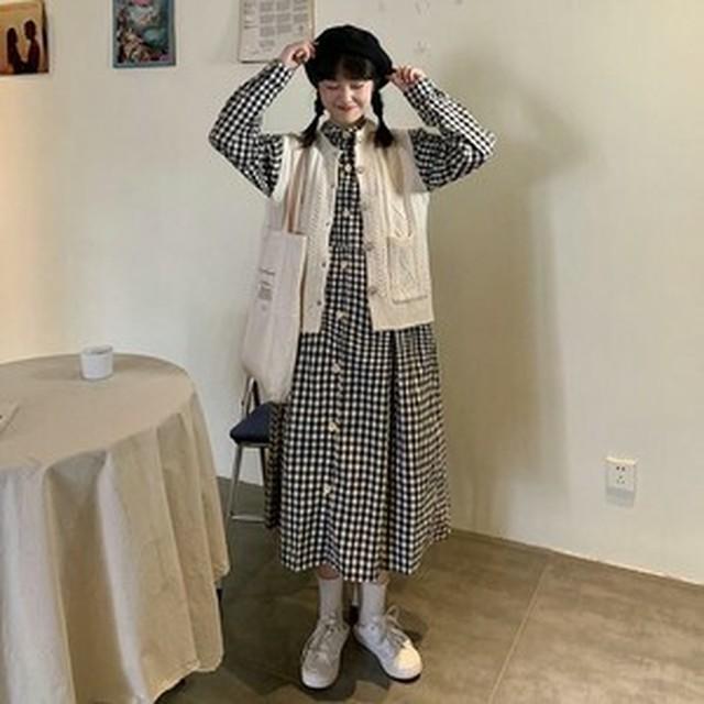 送料無料 ワンピースコーデ ケーブル編み ニット ベスト ギンガムチェック ロング シャツ ワンピース 5090