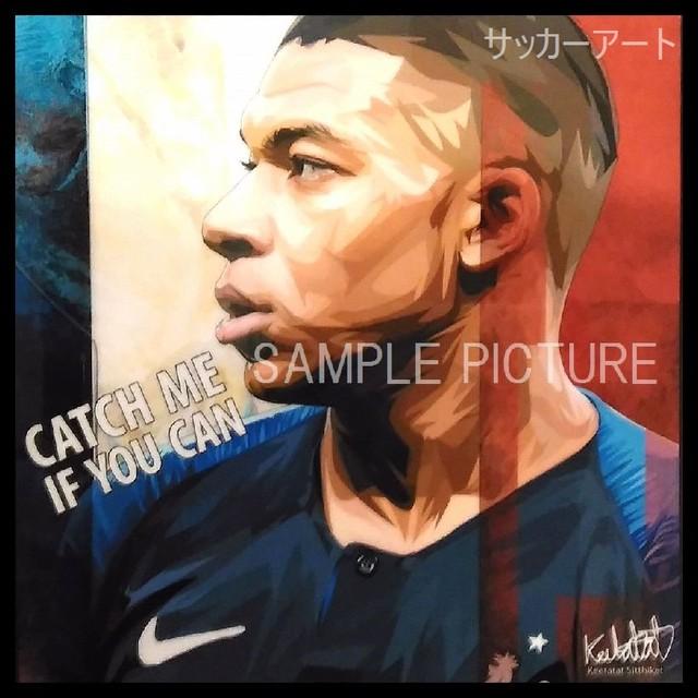 サッカーグラフィックアートパネル キリアン・ムバッペ (エムバペ) フランス代表 木製 壁掛け ポスター (001-185)