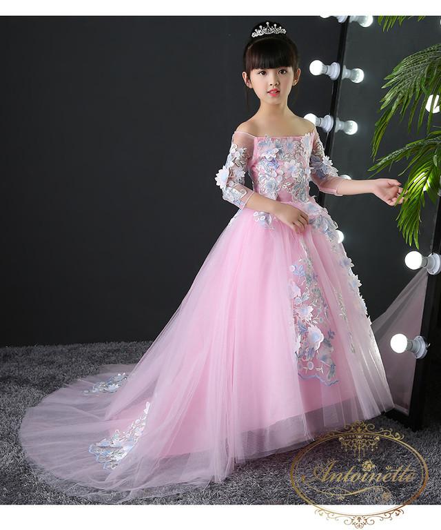 子供 子供用 可愛い ロングドレス 演奏会 コンクール 発表会 kids dress white pink wedding cute キッズ ウエディング ドレス ホワイト ピンク かわいい mama
