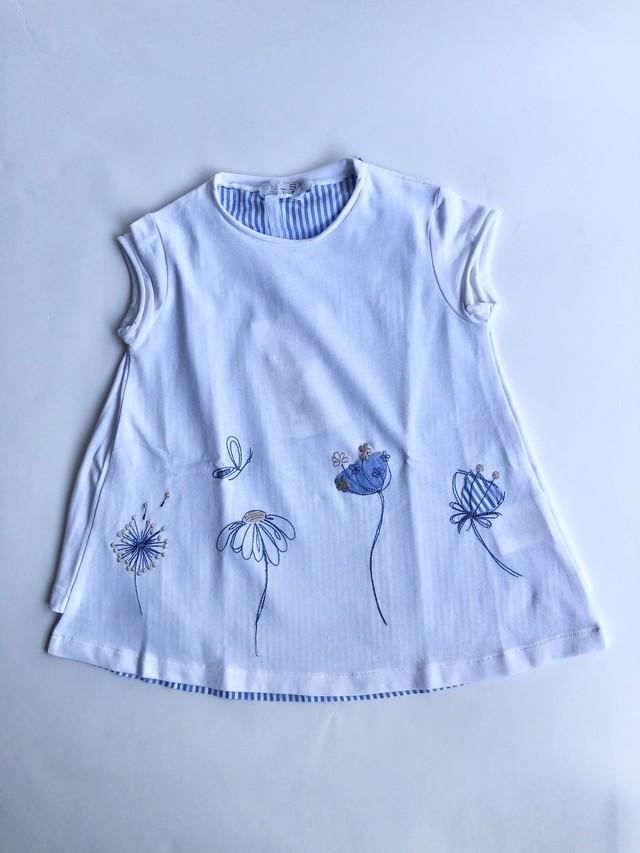 ELSY  ぼかし花びらTシャツ ホワイト 4才(100cm) エルシー