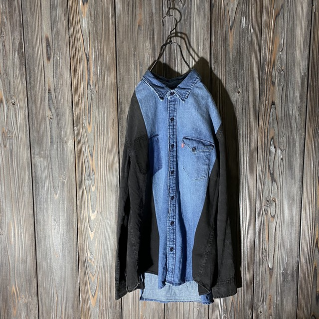 [used]side black switching denim shirt