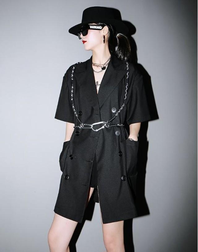 スーツ アウター スタイリッシュ シック モダン 黒 ブラック 半袖 バックル付き モード系 ヴィジュアル系 1379