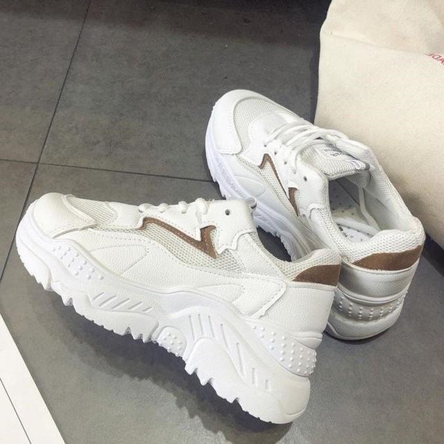 【shoes】ins定番シンプル上質切り替え丸トゥ厚底スニーカー