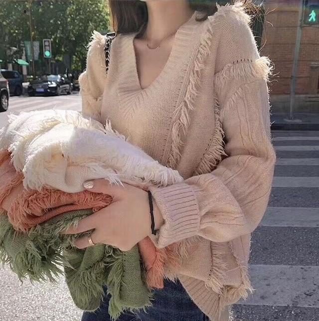 フリンジVニット ニット セーター 韓国ファッション