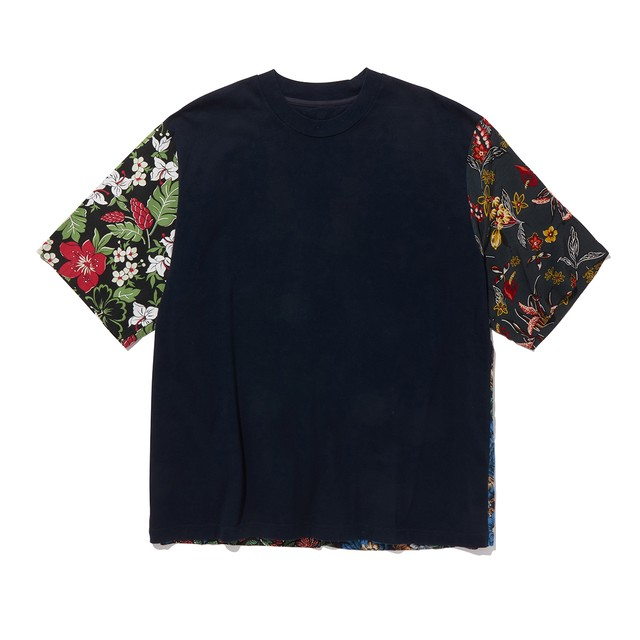 FLOWER PRINTED PATCHWORK T-SHIRT -NAVY