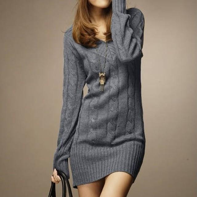 【ワンピース】ファッション膝上ギャザー飾りレギュラーウエスト無地ニットワンピース37122115