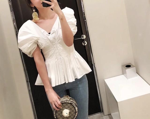 ◆予約◆puff sleeve short peplum shirt