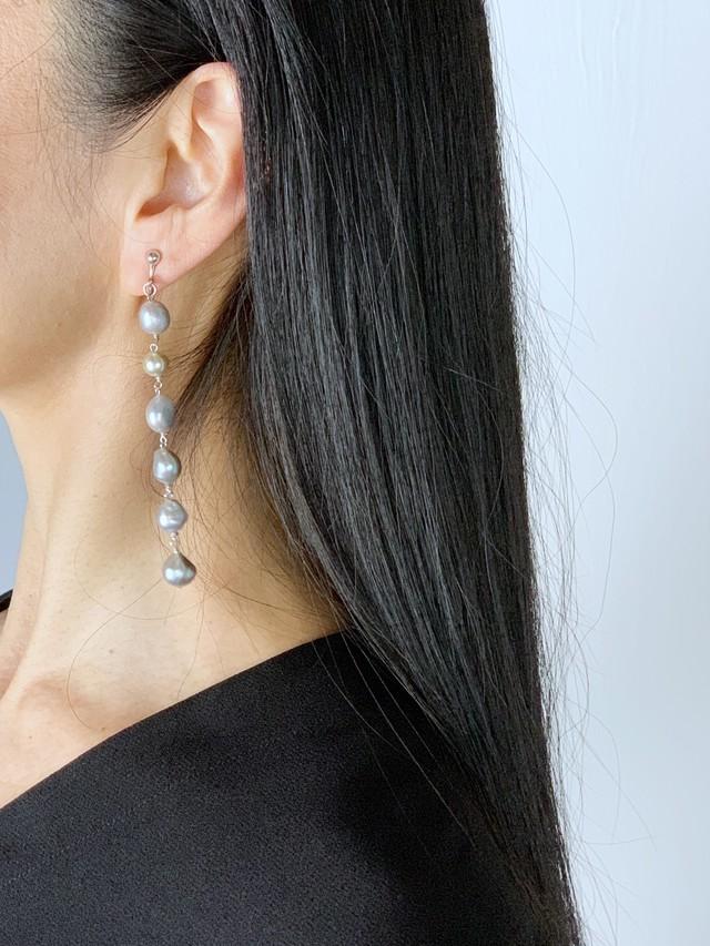 【6月の誕生石】喜びを引き出してくれる淡水パール(真珠)6連イヤリング/ピアス