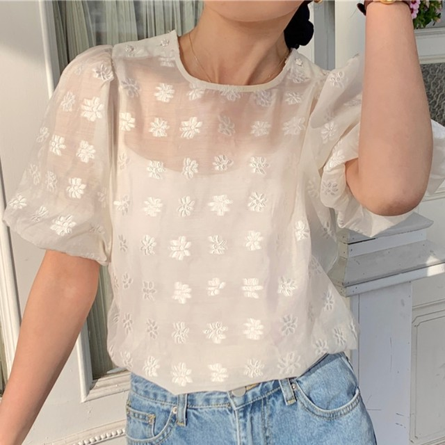 Embroidery  Flowers Shirt T689