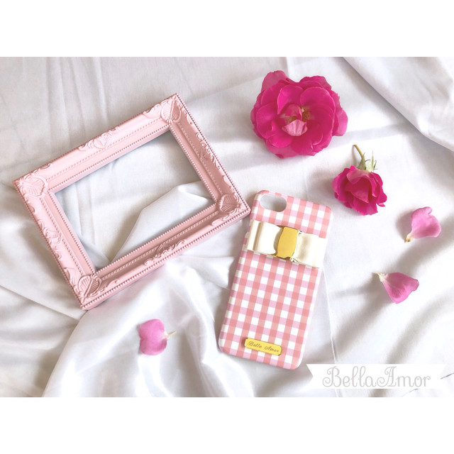 pink gingham check iPhone case