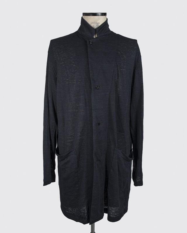 T/f linen knit cardigan coat - deep sea