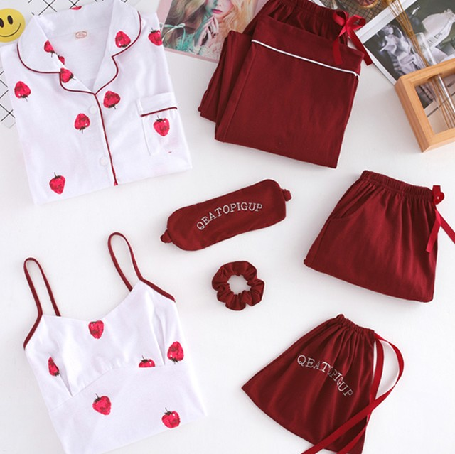 《Petit》Strawberry cotton room wear 7sets B387