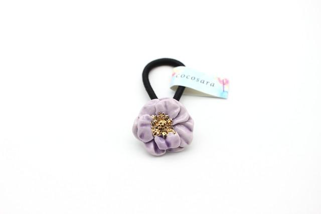 有田焼 花 ヘアゴム 薄紫