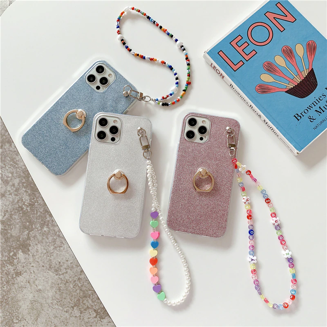 Clear bead chain iphone case