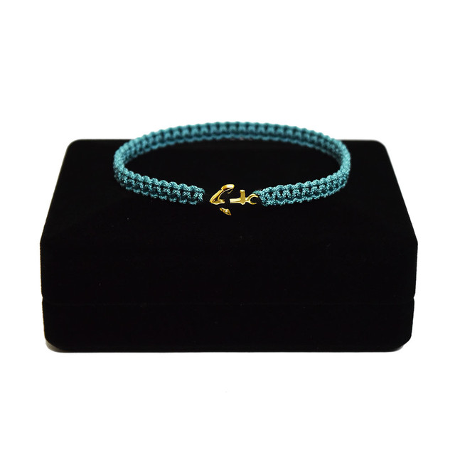 【2021SS 期間限定カラー】K18 Gold Anchor Bracelet / Anklet  DustyTurquoise×Black【品番 17S2010】
