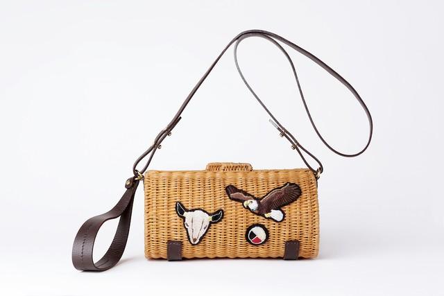 【新作カゴバッグ】Native American Patched Cylinder Rattan Bag 【SEMI BREACH】