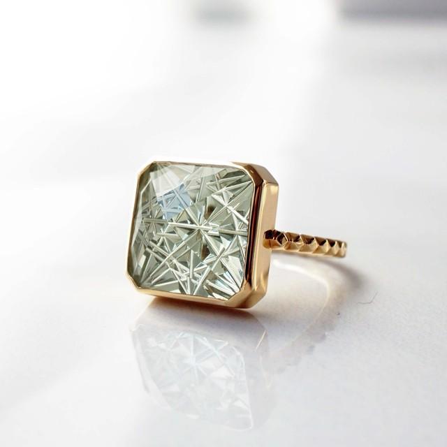 Green Quartz KIRIKO Ring  (Square12)