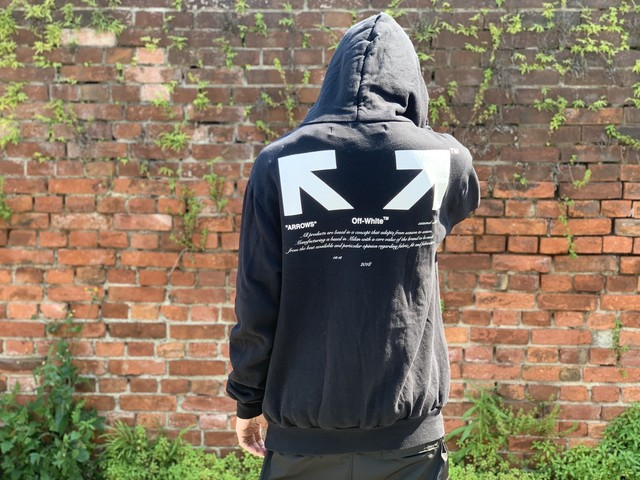 OFF-WHITE FOR ALL 03 ARROW HOODIE BLACK LARGE 190JB3790