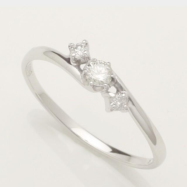 豪華★婚約指輪  ダイヤモンド リング(指輪) ホワイト ゴールド 3粒の上質天然ダイヤがキラリと輝くダイヤモンドリング♪ 0.13ct K18WG