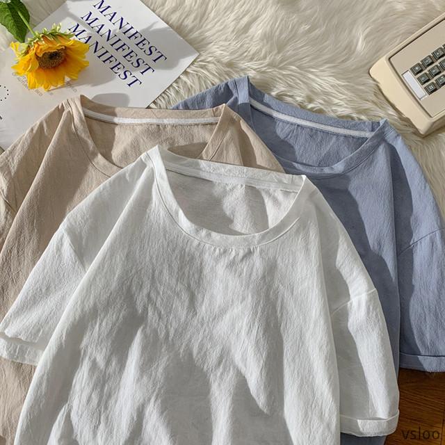 【トップス】ins超人気 chic 無地 シンプル ラウンドネック 合わせやすい Tシャツ44420542