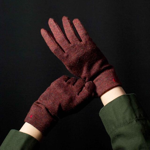 佩 手袋(110 杢レッド) ウール100% 手が細くキレイに見える