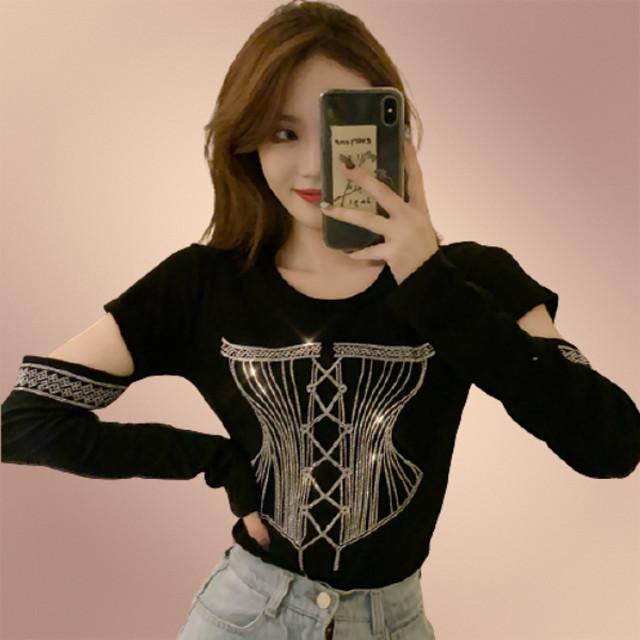 【トップス】No.1 人気商品ファッションプルオーバー長袖ラメ入りラインストーン Tシャツ42486424