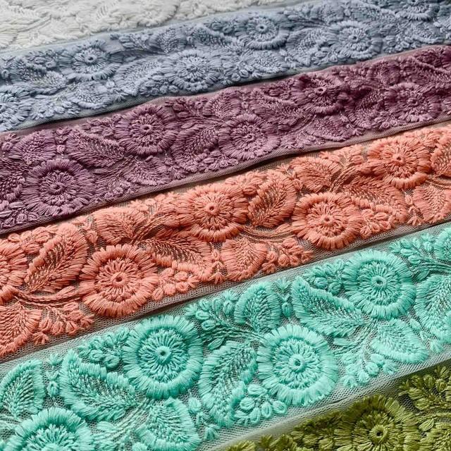 ワントーン草花刺繍チュールリボン