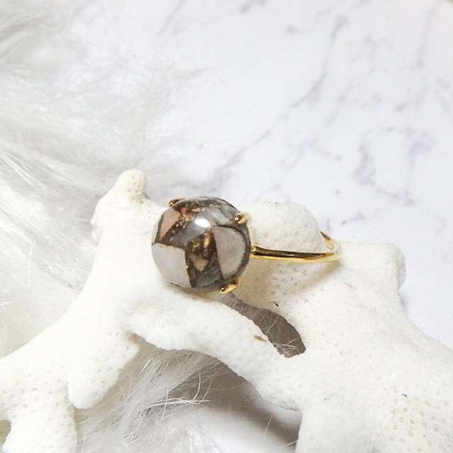 Copper Calcite Gold Ring