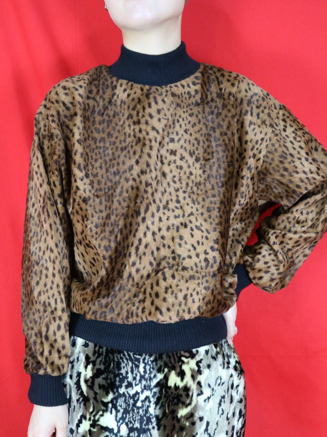 leopard fake fur pullover tops【0586】