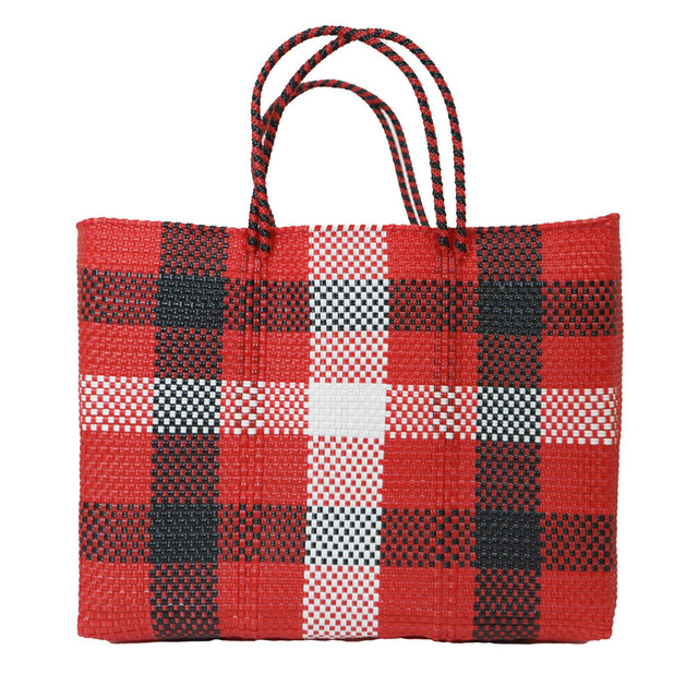 MERCADO BAG 3CHECK - Red x White x Black(L)