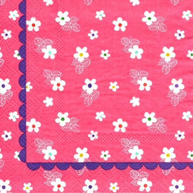 北欧|新入荷【rice】バラ売り1枚 カクテルサイズ ペーパーナプキン FLOWER PRINT ピンク