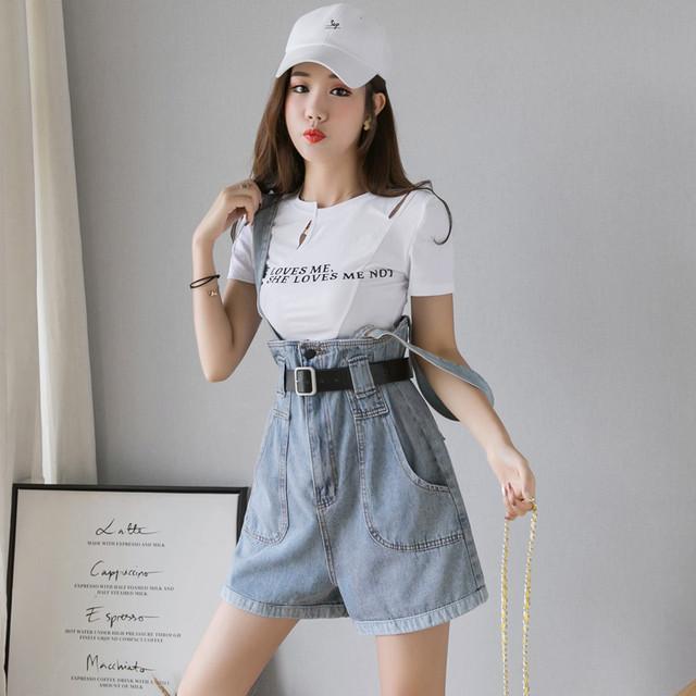 【ボトムス】ファッションハイウエストデニムショートパンツ27778490