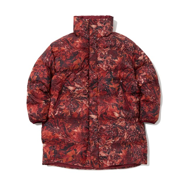FALLEN LEAVES PRINTED REVERSIBLE DOWN COAT - BURGUNDY