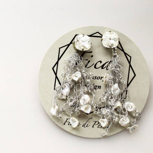 Croshet Pierce/Earing(silverxkeshi pearl)
