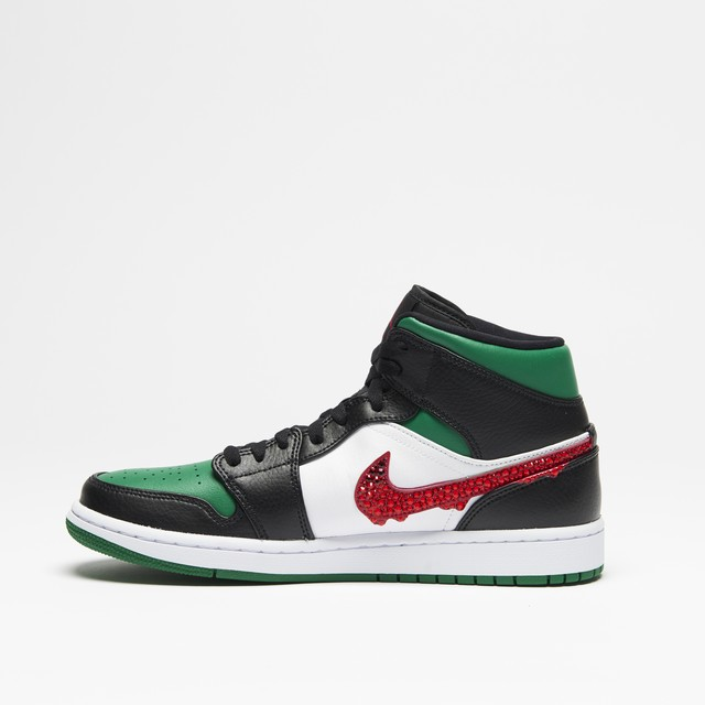 AJ1 MID GREEN TOE DROP STONE RED