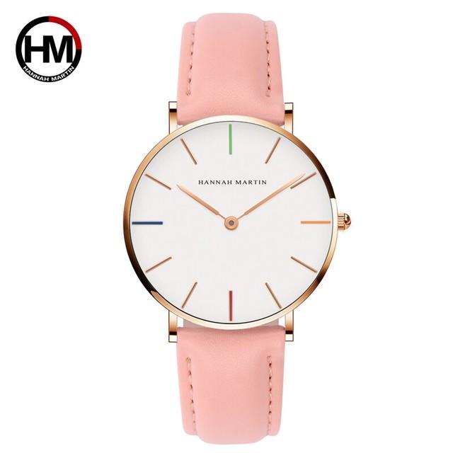 女性の時計クリエイティブトップブランド日本クォーツムーブメント時計ファッションシンプルな因果レザーストラップ女性の防水腕時計3690-B36-FF