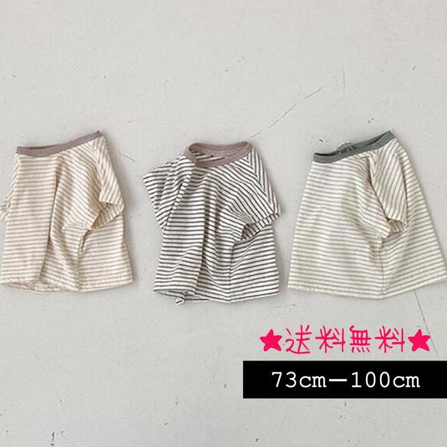 【73cm-100cm】韓国ファッション☆ボーダー 半袖シャツ (357)