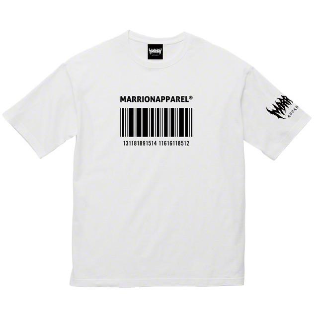 BAR CODE13 Big silhouette T-shirts (White×Black)