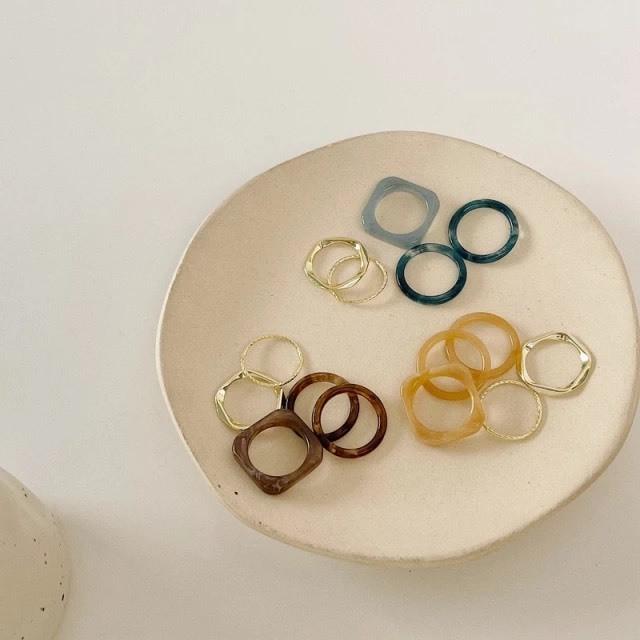 caramel / blue / brown 5Pcs Ring Set