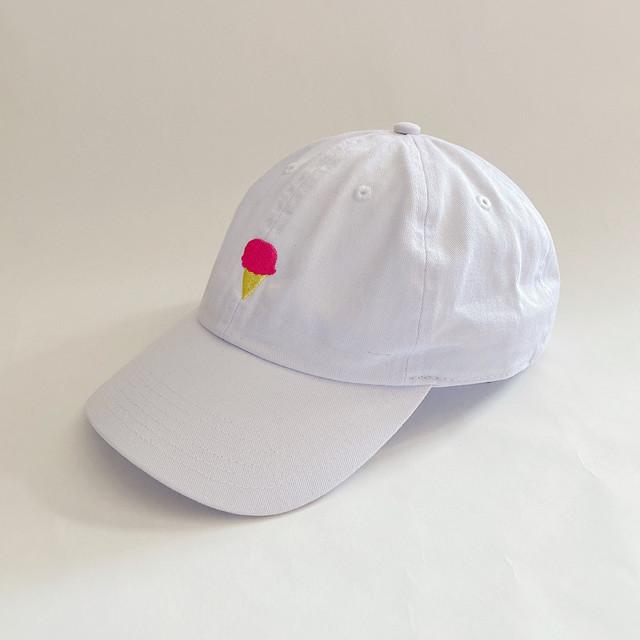【ANCHO AYA】アイスクリーム刺繍のキャップ
