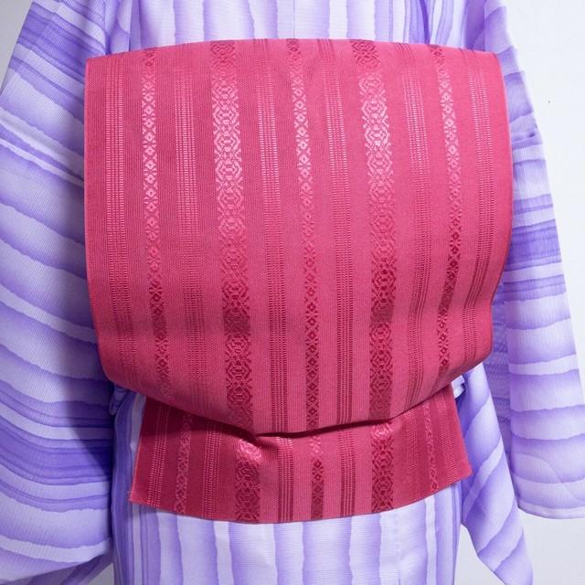 【美品】紗 8寸名古屋帯 交織 博多献上柄(五献)松葉仕立て ローズピンク