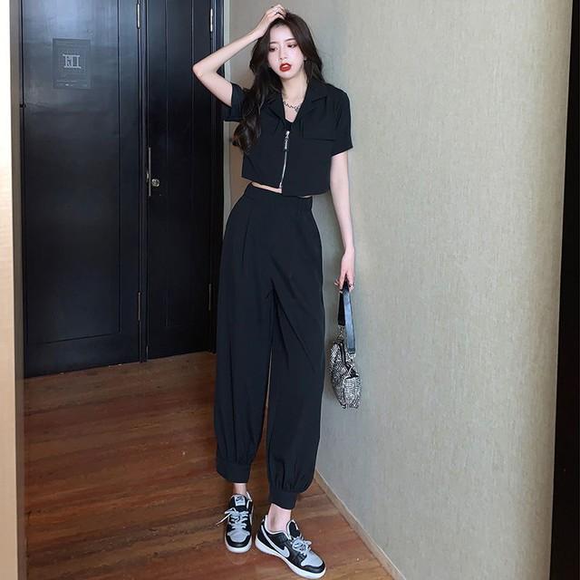 【セット】デザイン性抜群シンプル半袖折り襟ジッパートップス+パンツ47508076