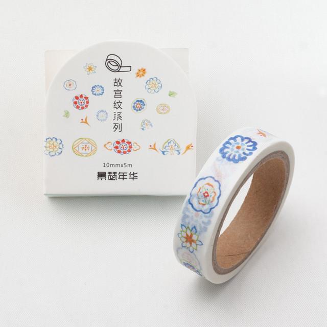 故宮紋シリーズ「景瑟年華」細型マスキングテープ 10mm