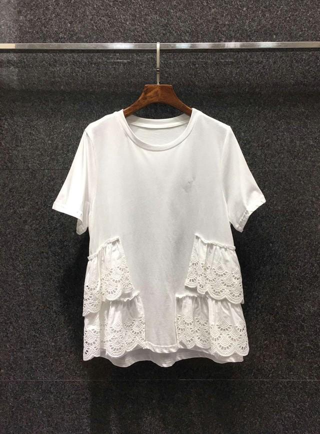 【トップス】サイドレースフリル Tシャツ・ホワイト