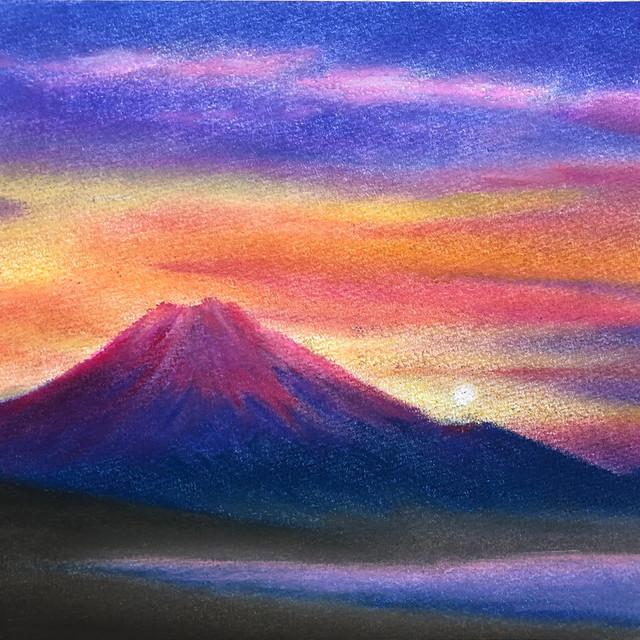 絵画 インテリア アートパネル 雑貨 壁掛け 置物 おしゃれ 富士山 風景 パステルアート ロココロ 画家 : ゆめの 作品 : 赤富士 / ゆめの