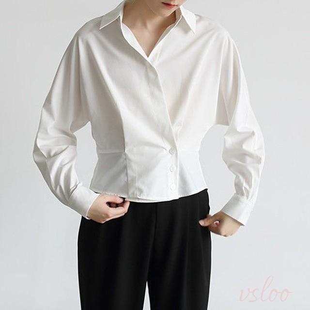 【トップス】大人らしい 通勤 オフィス トップス シンプル 無地 ホワイトシャツ42940522