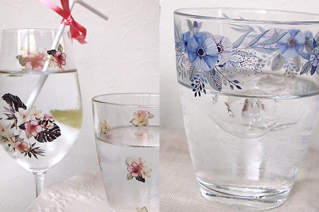 【SET割引】ガラス用2枚セット 水彩ブルーフラワー・水彩トロピカルフラワー (ポーセラーツ用転写紙)