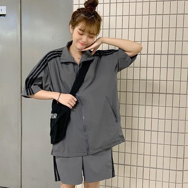 【セット】着心地良いストリート系ジッパーポロシャツ+ショートパンツ27128496