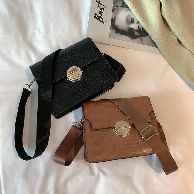 【 バッグ 】スクエア型 レトロ  クロコダイル調 PU ミニサイズ ショルダーバッグ 鞄 送料無料 5762