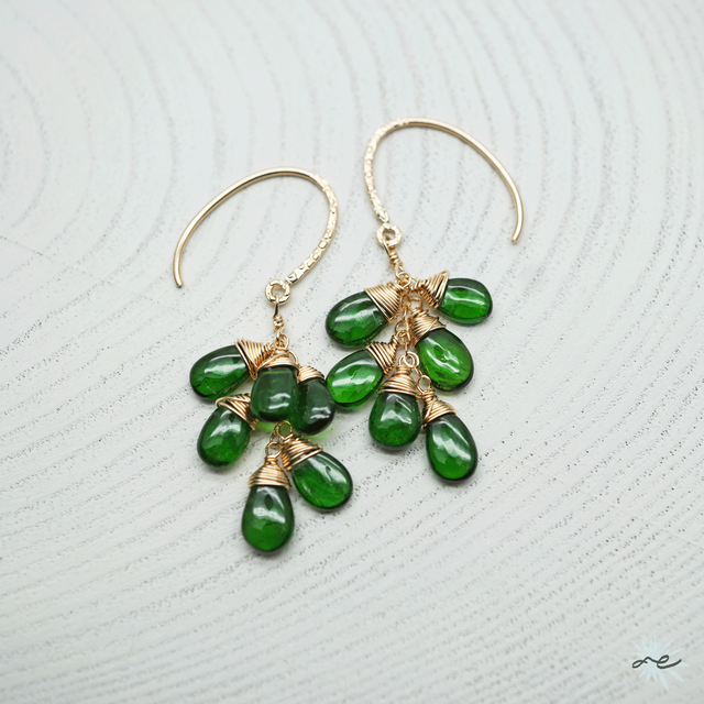 Chrome Diopside Cluster Earrings/14KGF